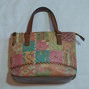 Vtg Fossil Multi-Colored Leather Purse Hand Bag